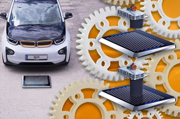 Matrix Charger with gears printed in 3D made of iglidur® material together with an electric car